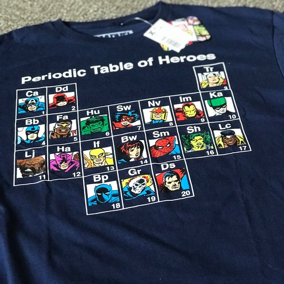 Marvel other nwt comics periodic table of heroes tshirt poshmark nwt marvel comics periodic table of heroes t shirt urtaz Image collections